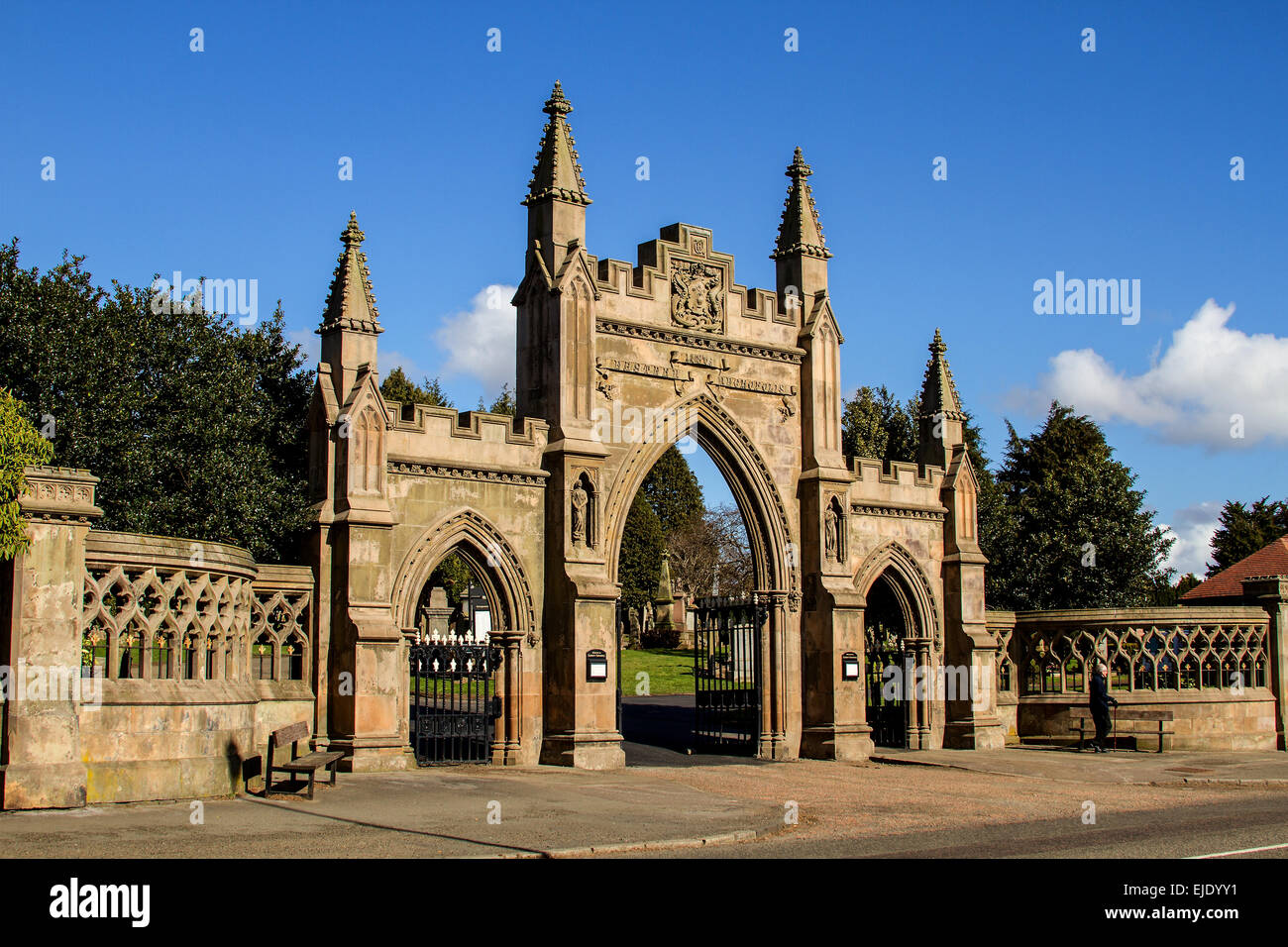 Main entrance gateway to the Eastern Necropolis also known as the Eastern Cemetery situated along 217 Arbroath Rd, Stock Photo