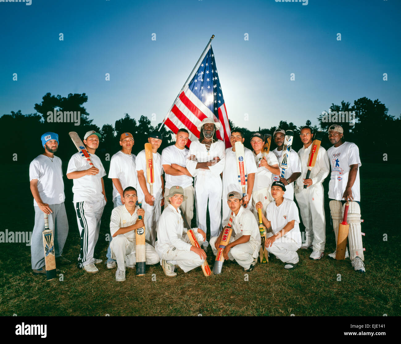 COMPTON, CA – MAY 01: Compton Cricket Team playing cricket in Los Angeles, California on May 01, 2000. - Stock Image