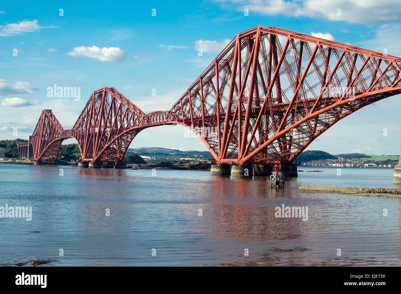 The impressing railway bridge over the Firth of Forth in Scotland - Stock Image