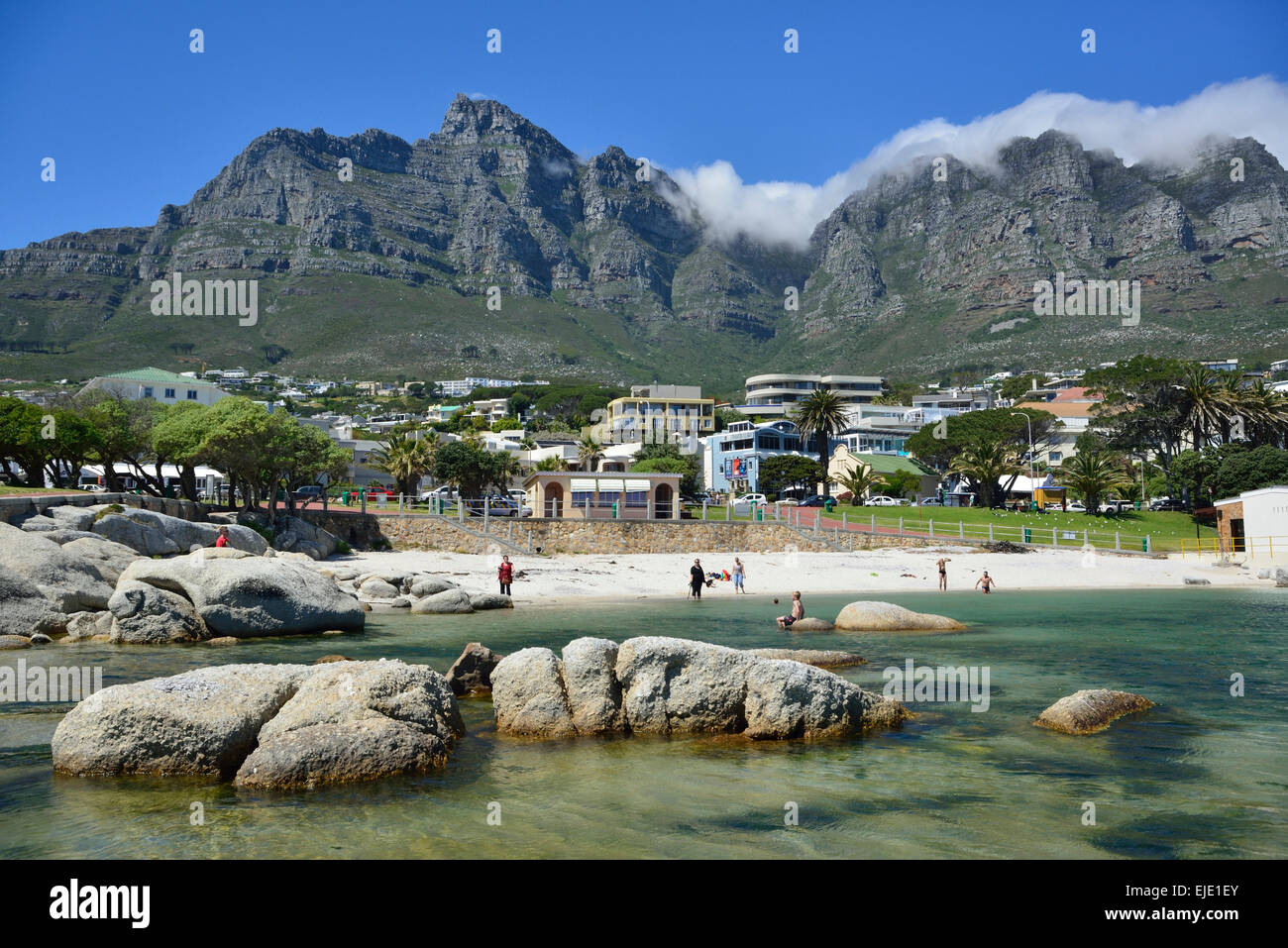Low angle view of the side of Table Mountain from Camps Bay beach, Cape Town, South Africa Stock Photo