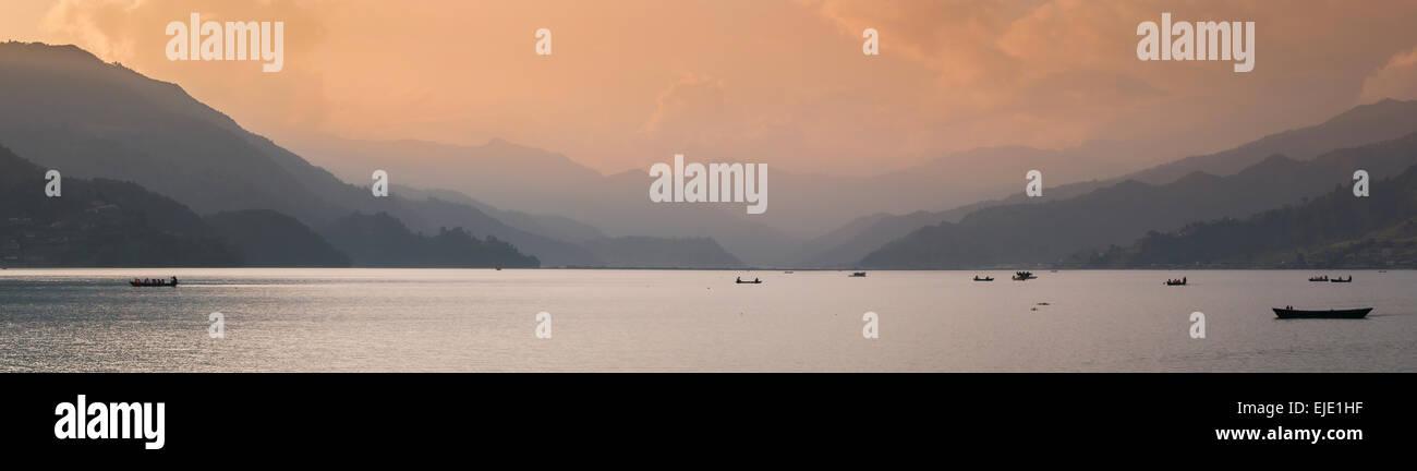 Sunset in Phewa Lake - Stock Image