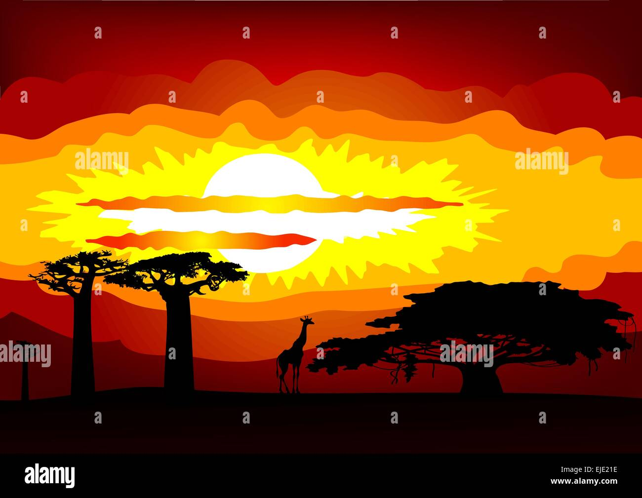 Abstract illustration of the sunset in Africa - vector Stock Vector
