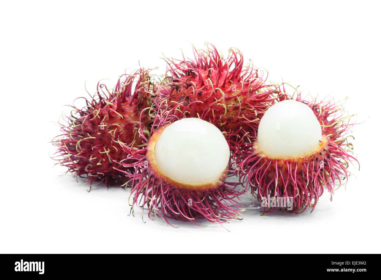 peel Rambutan sweet tropical fruit on white Stock Photo