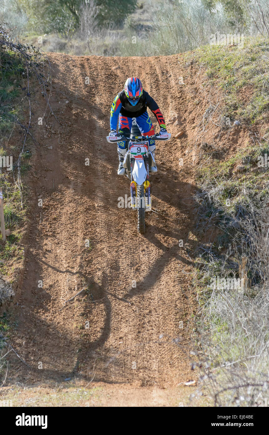 Spain cross country championship. Marcos Barbero Andres drives his husqvarna motorcycle - Stock Image