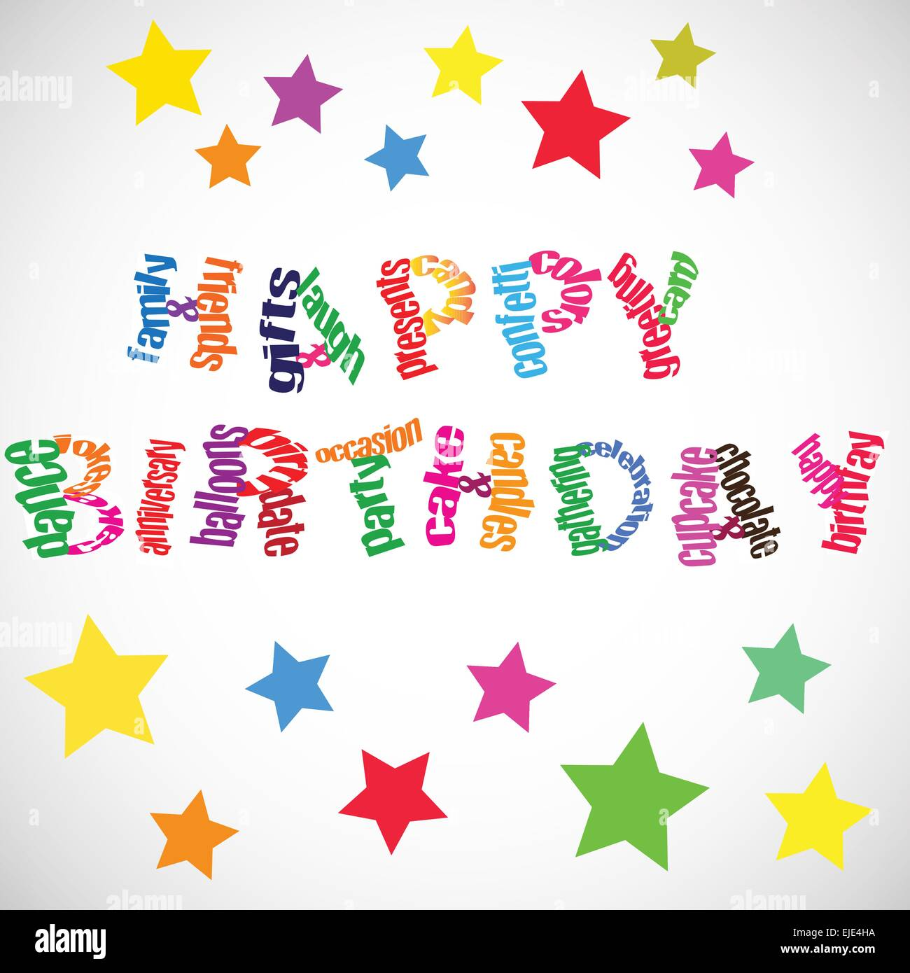 Happy birthday vector text with many related words and colored stars. - Stock Image