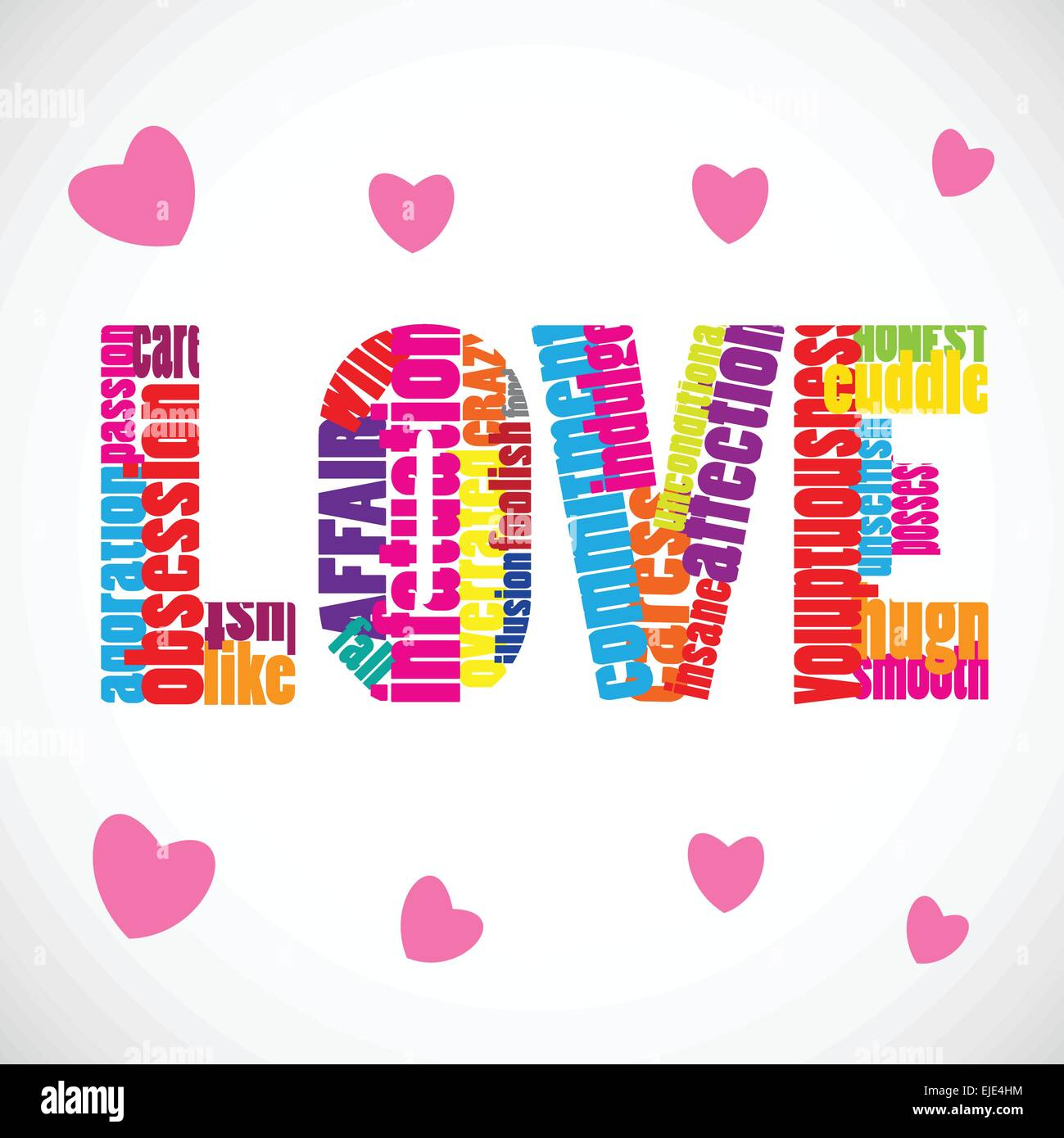 Love vector text with many related words and pink hearts. - Stock Image