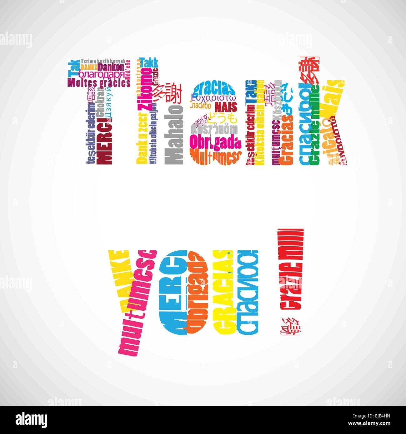 Thank you vector text with translations in many languages. - Stock Image