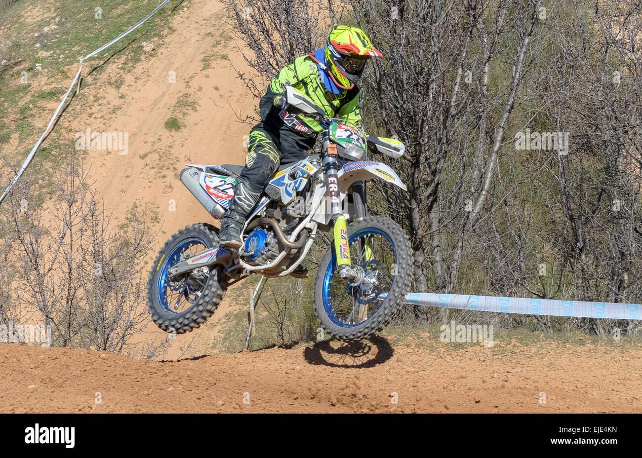 Spain cross country championship. Marcos Beraza Vitoria driving a Husqvarna motorcycle. - Stock Image