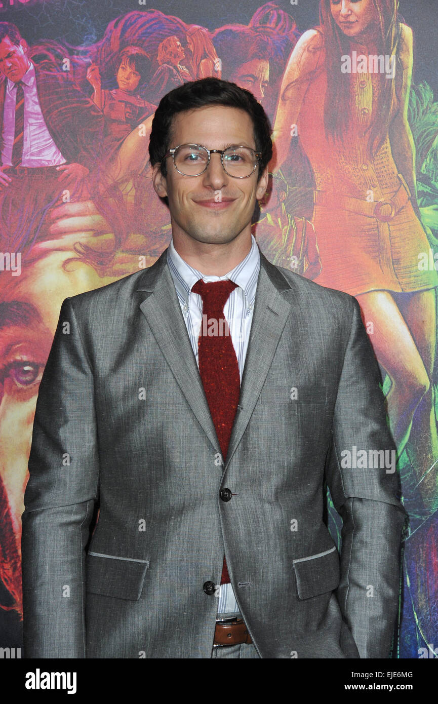 LOS ANGELES, CA - DECEMBER 10, 2014: Andy Samberg at the Los Angeles premiere of 'Inherent Vice' at the - Stock Image