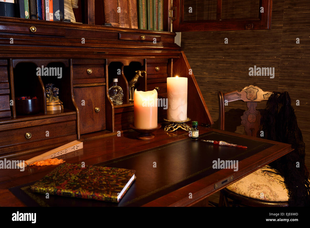 Phenomenal Antique Secretary Writing Desk In Moody Dark Room With Download Free Architecture Designs Embacsunscenecom