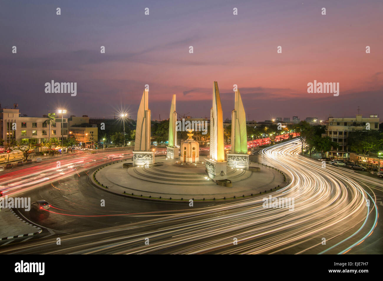 The Democracy Monument at twilight time at Bangkok,Thailand - Stock Image