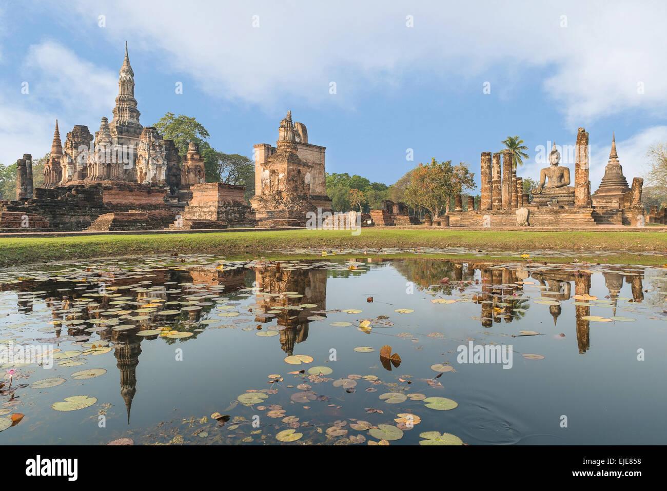 Sukhothai historical park in Thailand - Stock Image