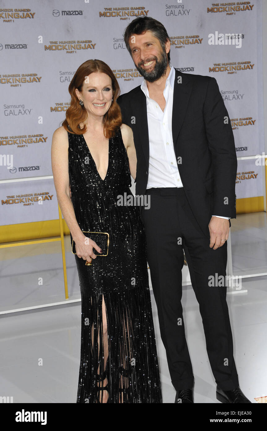 LOS ANGELES, CA - NOVEMBER 17, 2014: Julianne Moore & husband Bart Freundlich at the Los Angeles premiere of - Stock Image