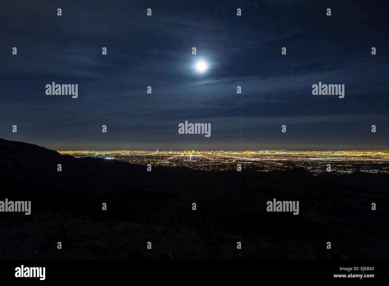 Full moon over Las Vegas, Nevada. - Stock Image