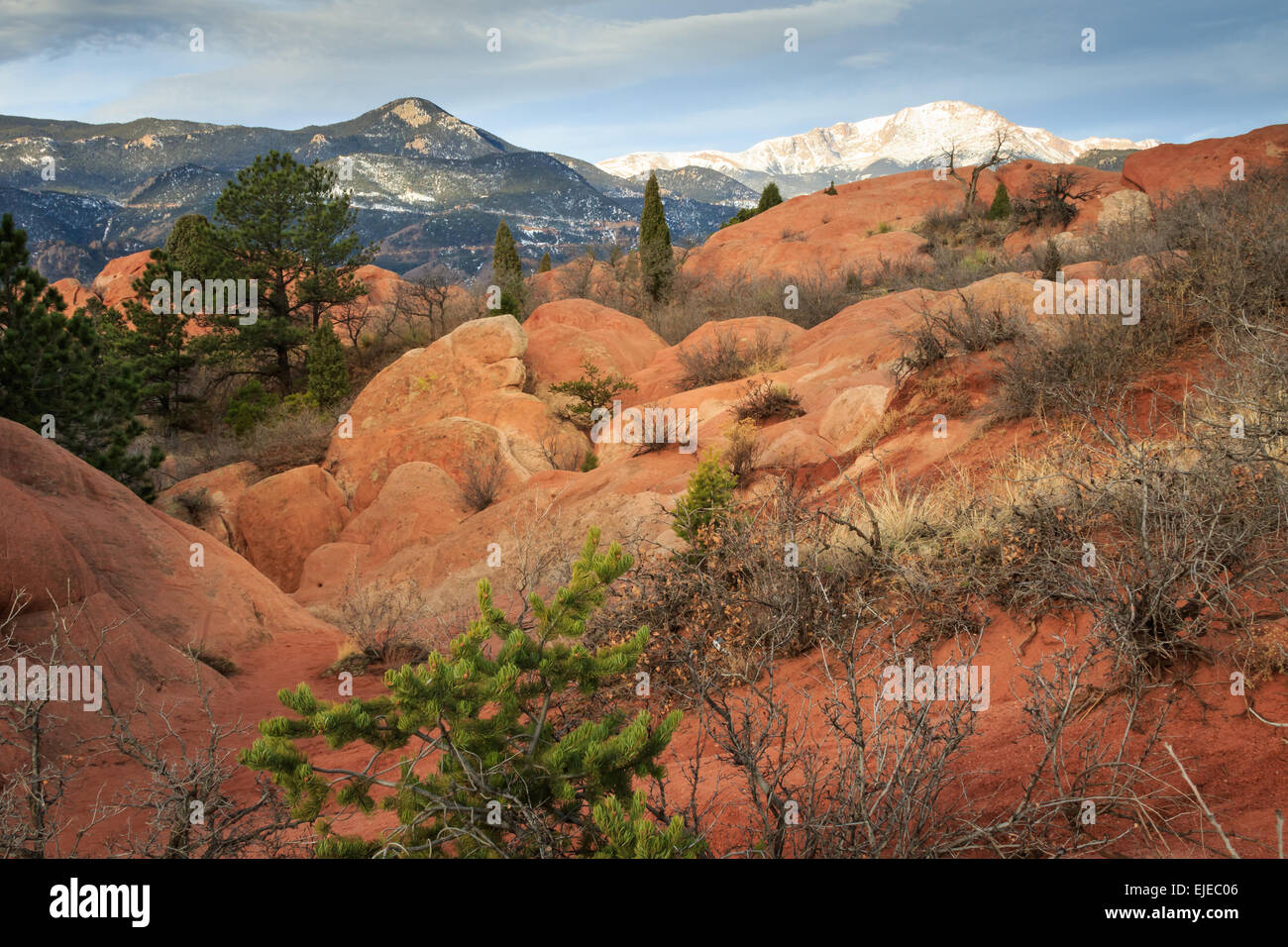 Pike's Peak seen from he High Point area of the Garden of the Gods in Colorado Springs, CO - Stock Image