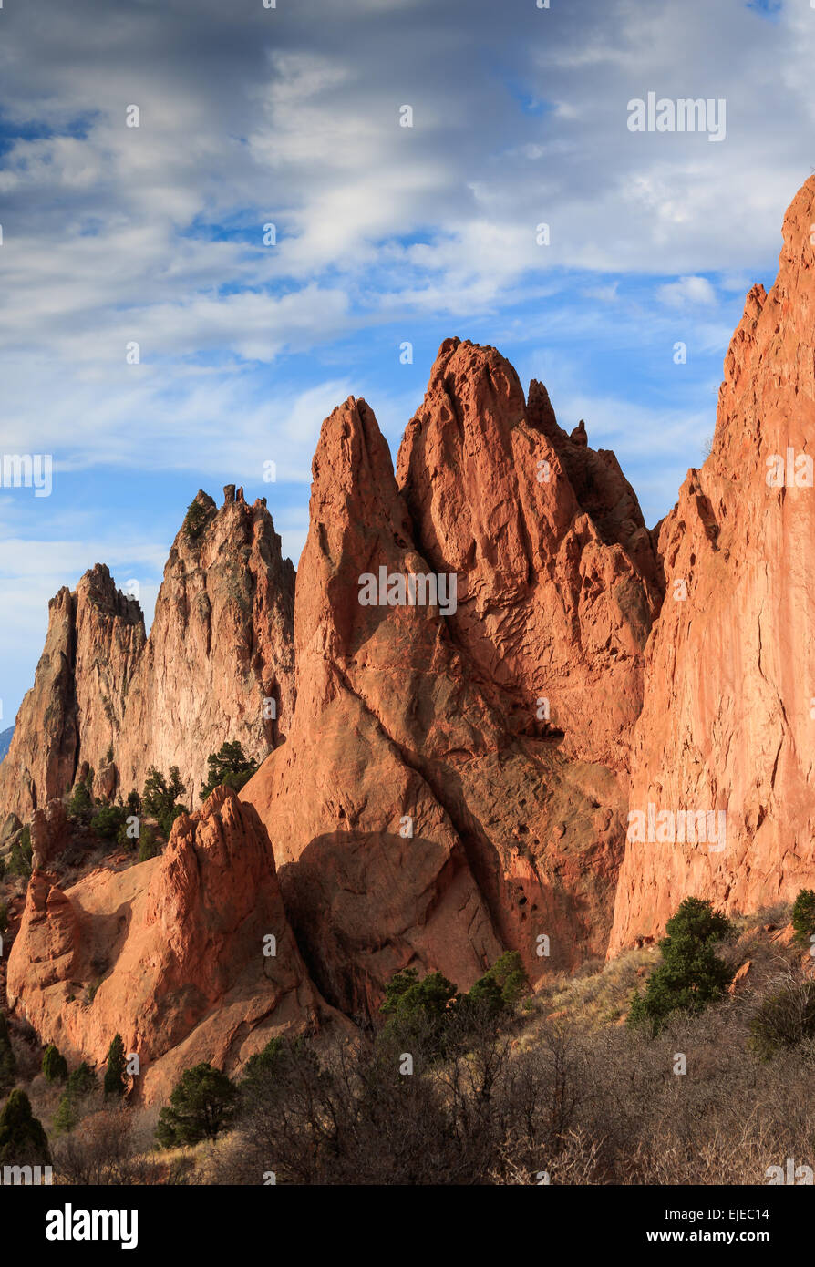 Rock formations in Garden of the Gods. This is a city park in Colorado Springs, CO. - Stock Image