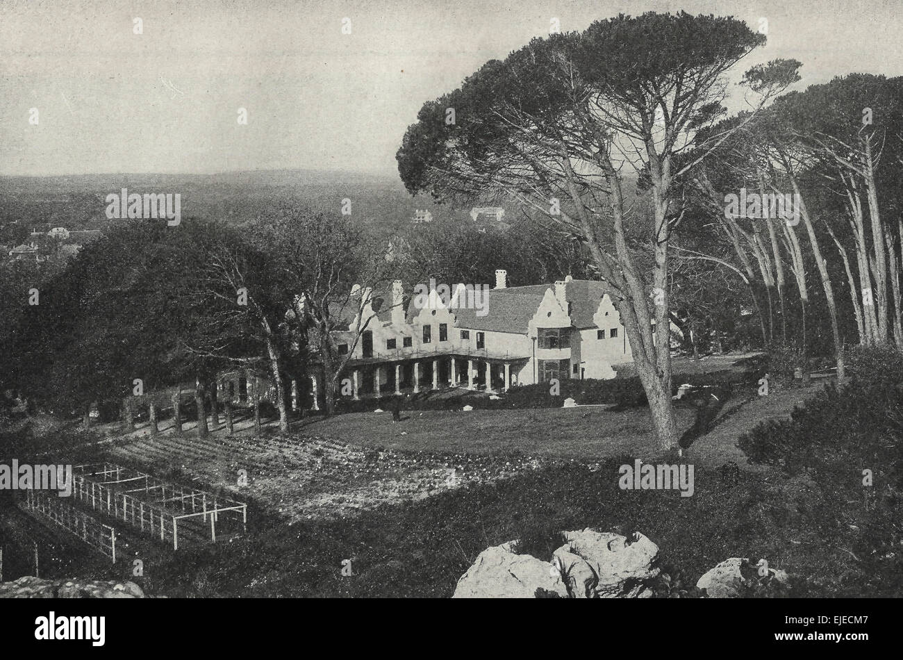 Groote Schuur - Home of Cecil Rhodes at Rondebosch, near Cape Town, South Africa, circa 1899 - Stock Image