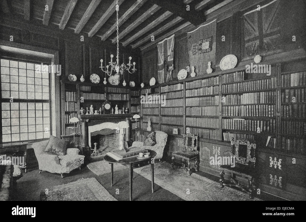 Cecil Rhodes Library at Groote Schuur, circa 1898 - Stock Image