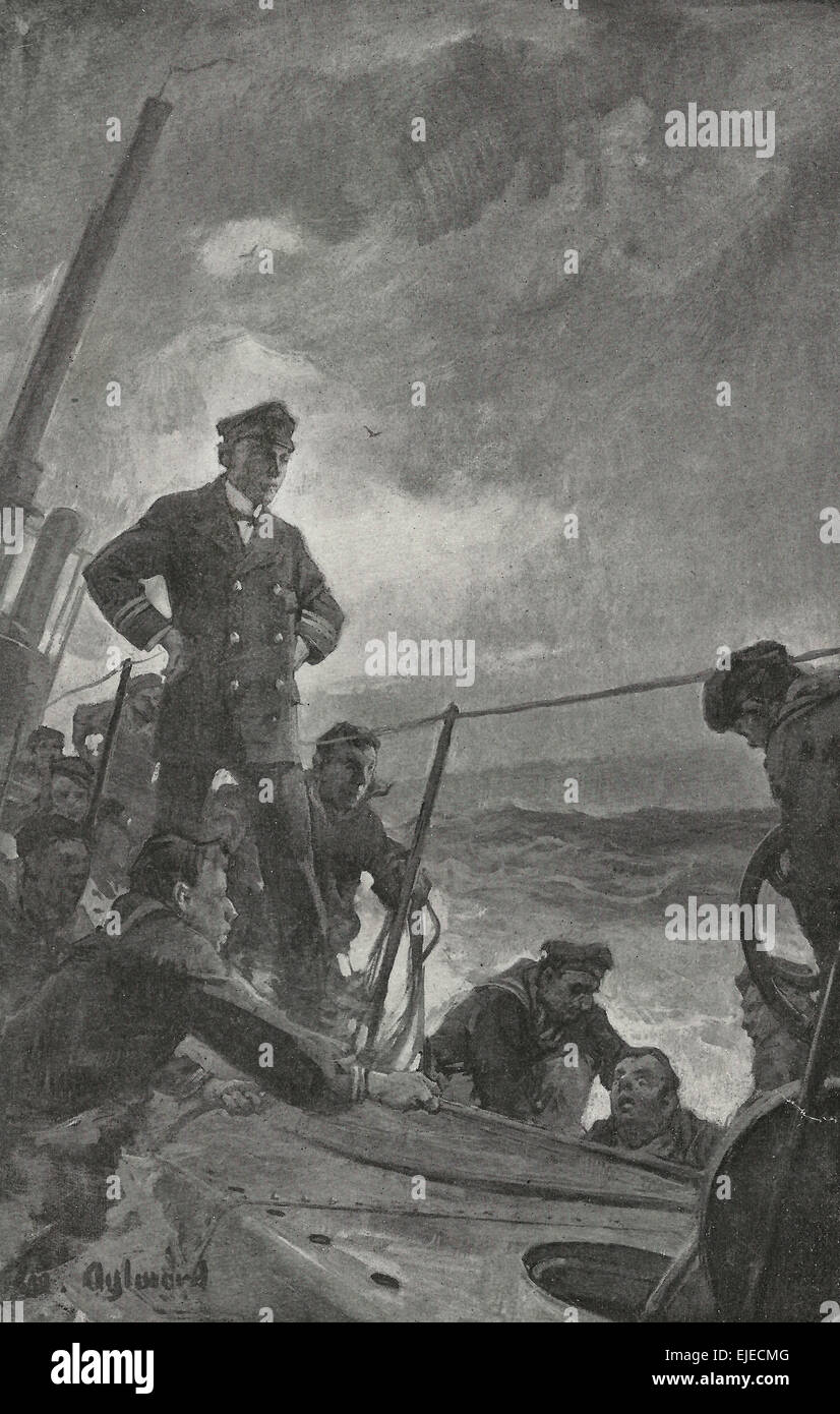 'You'll go down again' - German Uboat commander telling a diver to go down again to find out what is - Stock Image