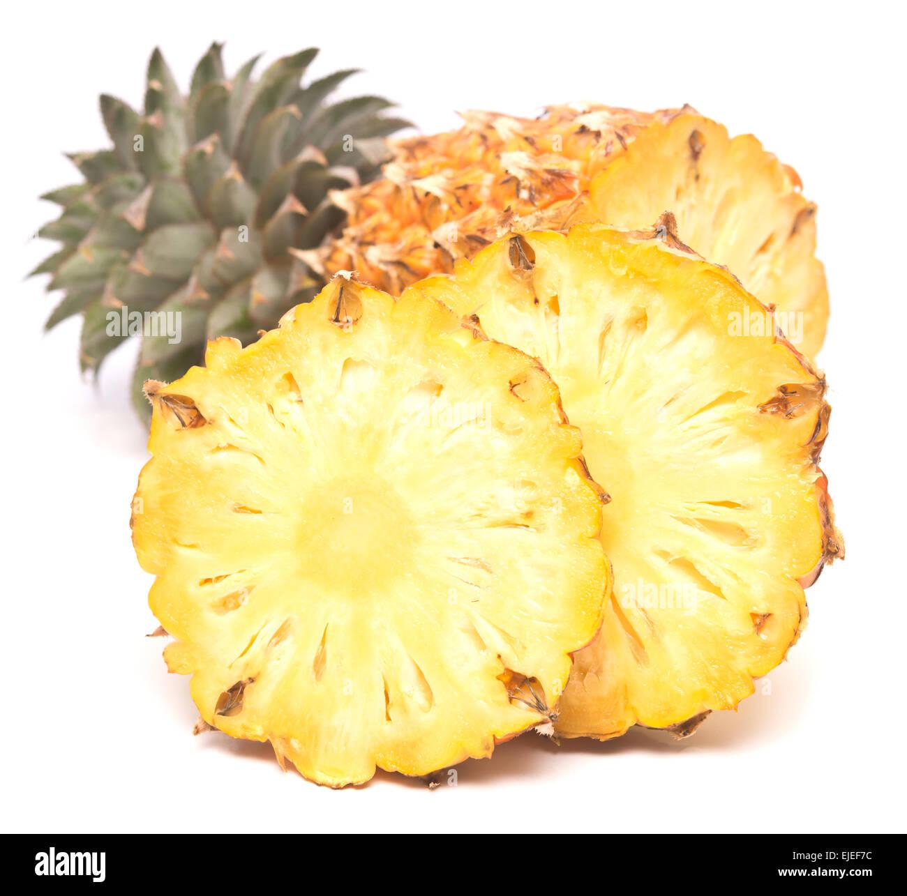 ripe juicy pineapple isolated on white background - Stock Image