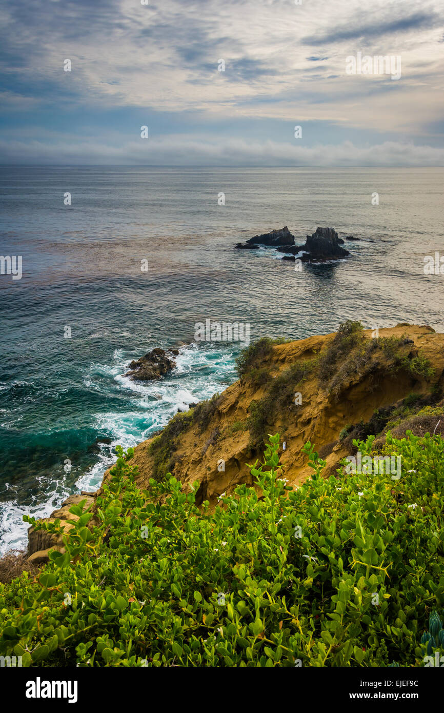 View of the Pacific Ocean from Crescent Bay Point Park, in Laguna Beach, California. Stock Photo