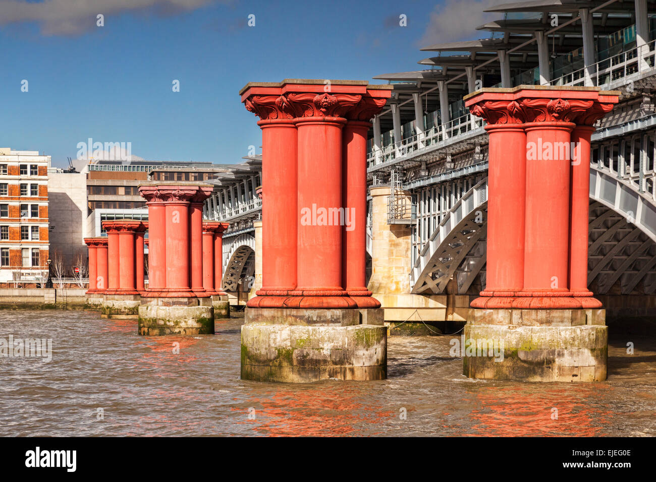 Blackfriars Railway Bridge, and the pillars of an older bridge which has been removed, London, England. - Stock Image