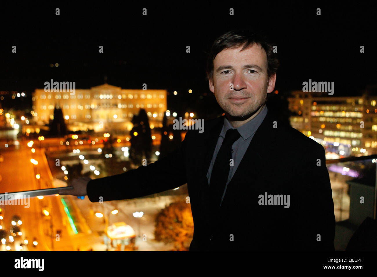 Author and screenwriter David Nicholls presents his new book 'Us' in Athens Greece. - Stock Image