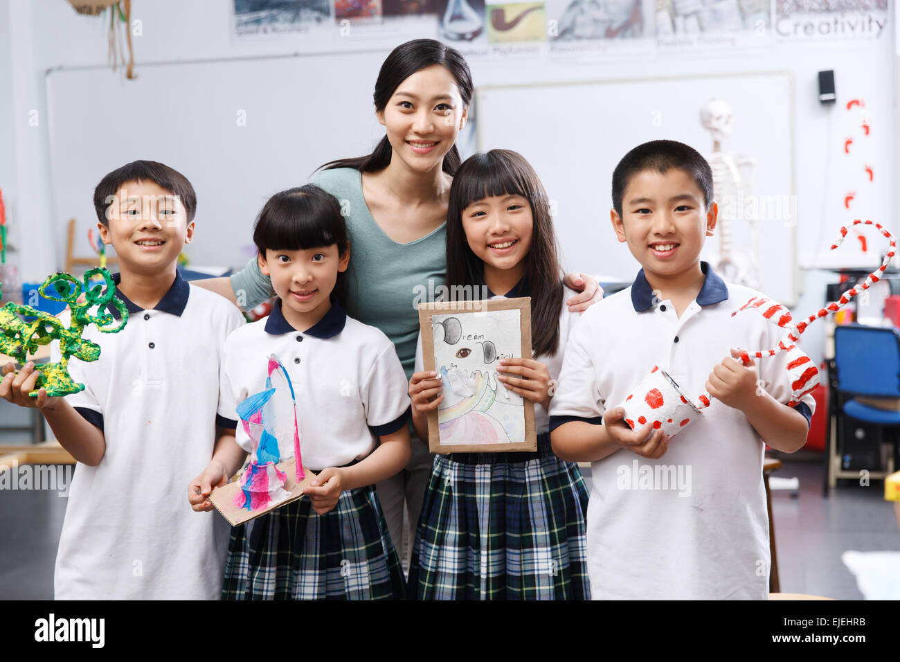 Students and teachers to display works in art class - Stock Image