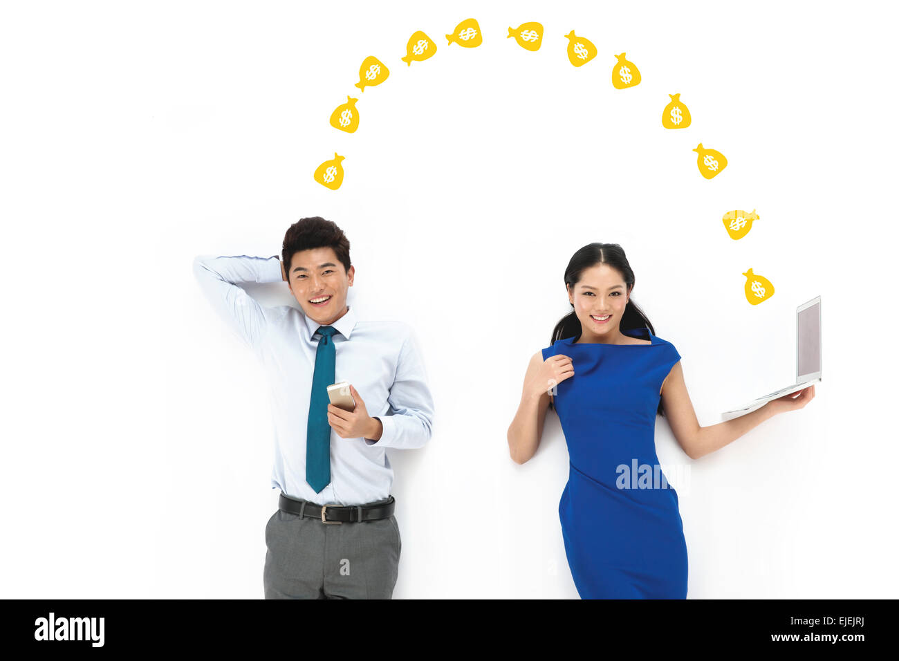 Business men and women with a mobile phone and handheld computer - Stock Image