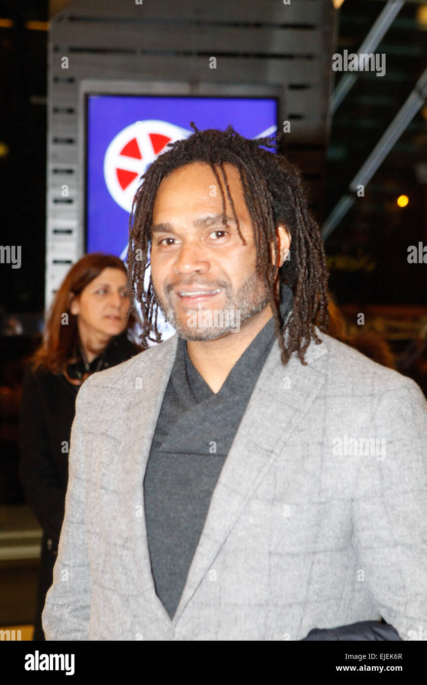 French international footballer Christian Karembeu attends at the Francophone Festival in Athens. Movies from three - Stock Image