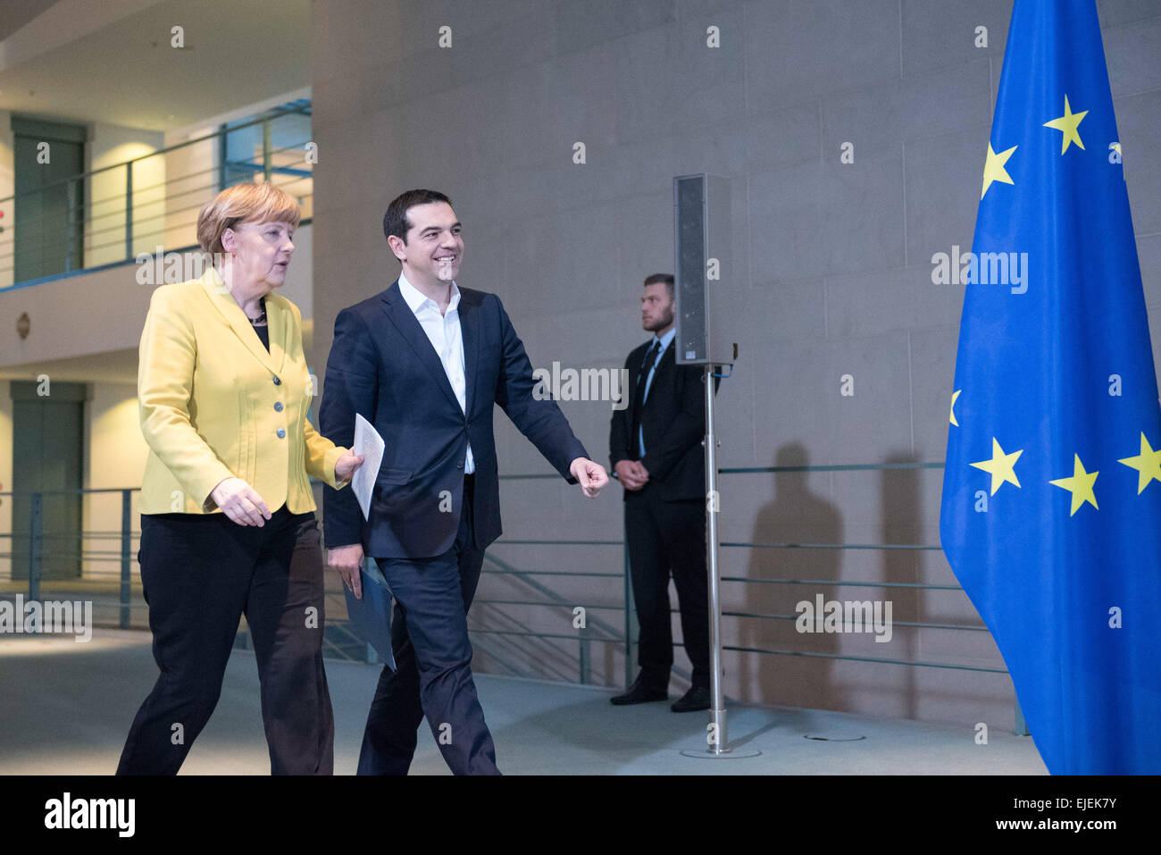 Angela Merkel, German chancellor, welcomes the Greece Prime Minister Alexis Tsipras with Military Honours at the - Stock Image