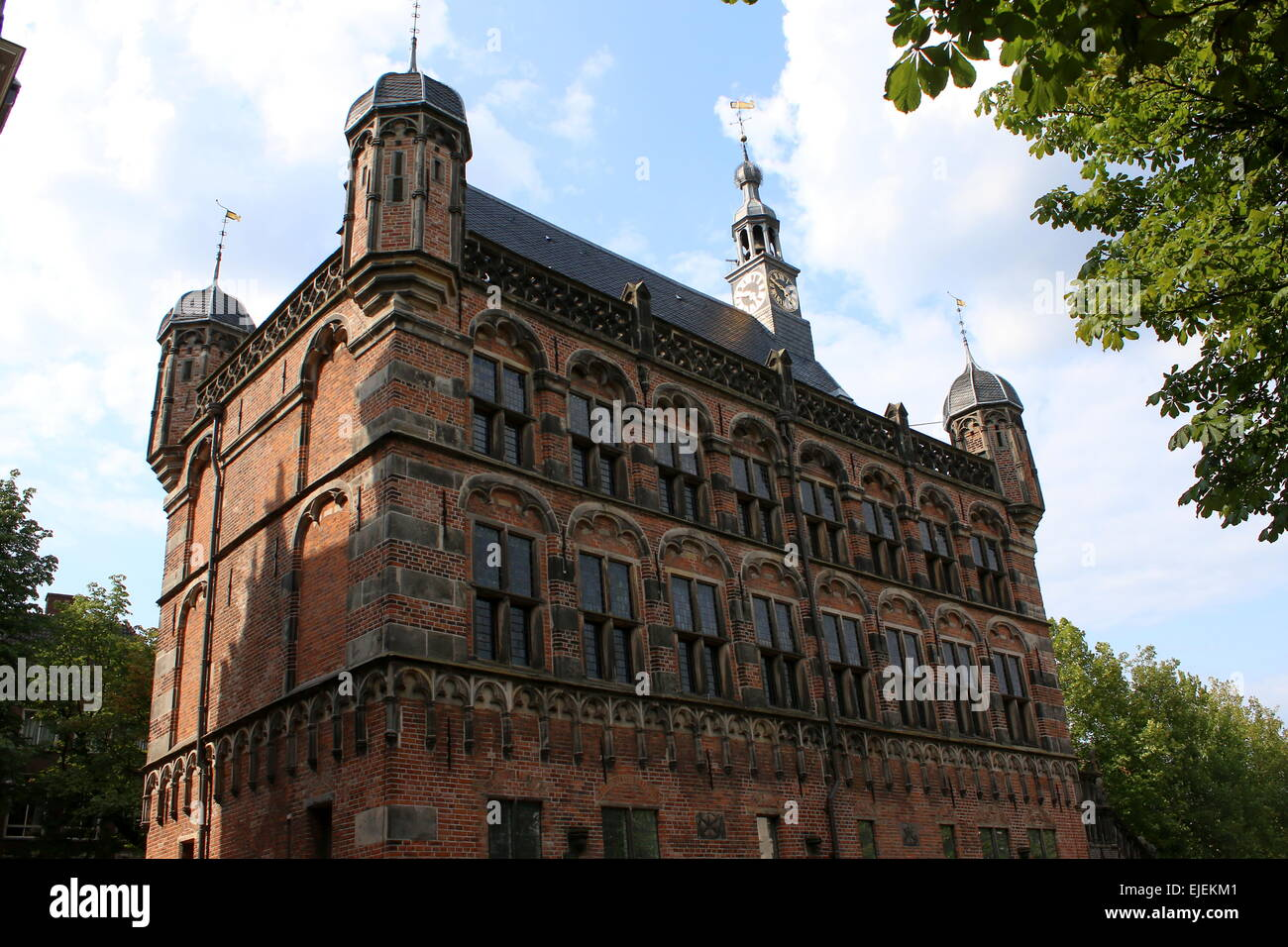 Facade and turrets of the 16th century Weighing House (Waag gebouw) on Brink square in Deventer, The Netherlands - Stock Image