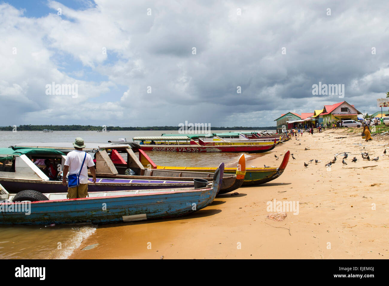 Korjaals on the Marowijne River, Albina, Suriname - Stock Image