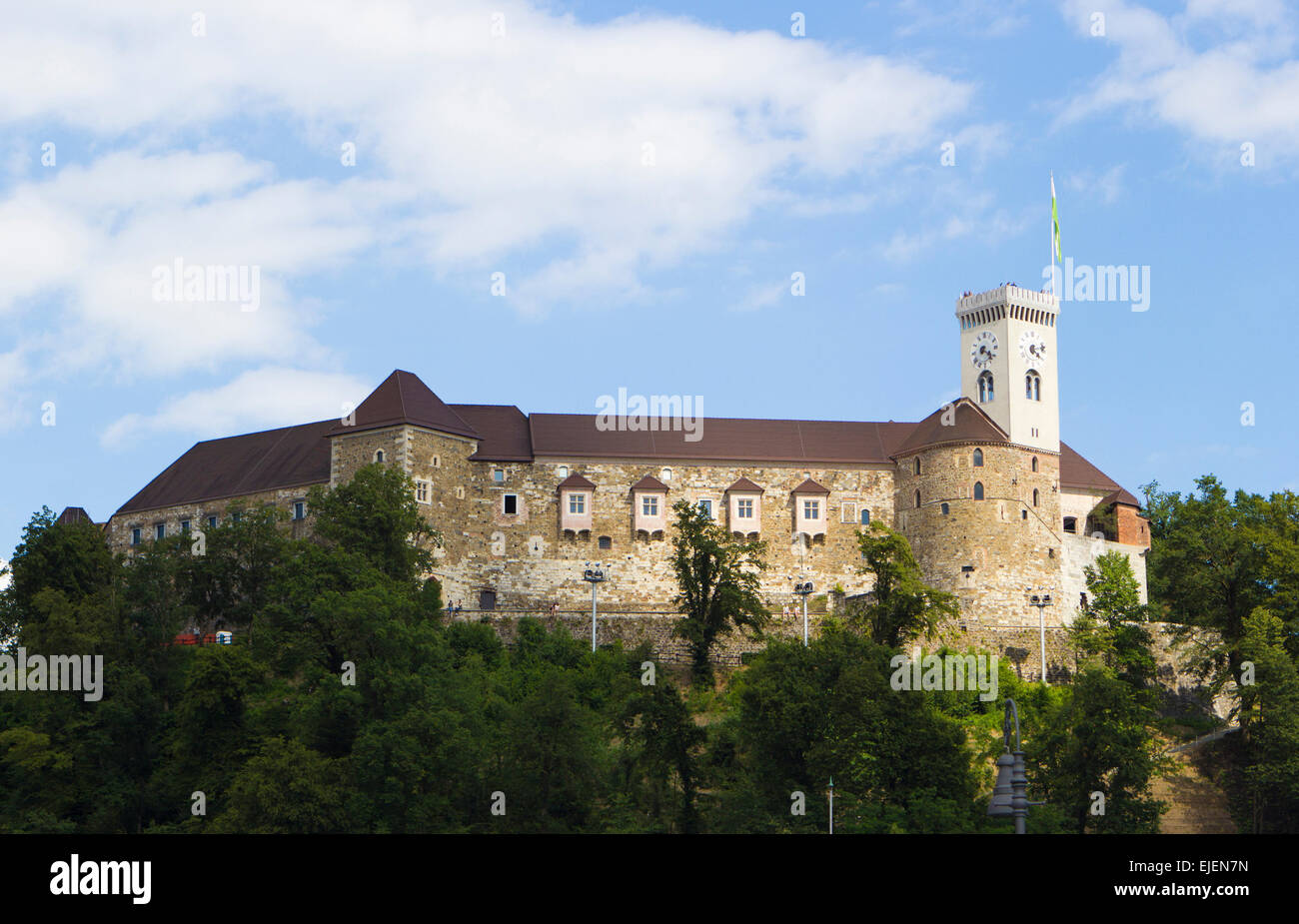 View of the castle in Slovenia's capital Ljubljana - Stock Image