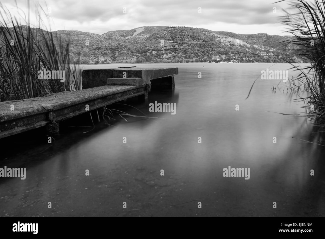 Concret pier landscape of anguix reservoir guadalajara spain stock image