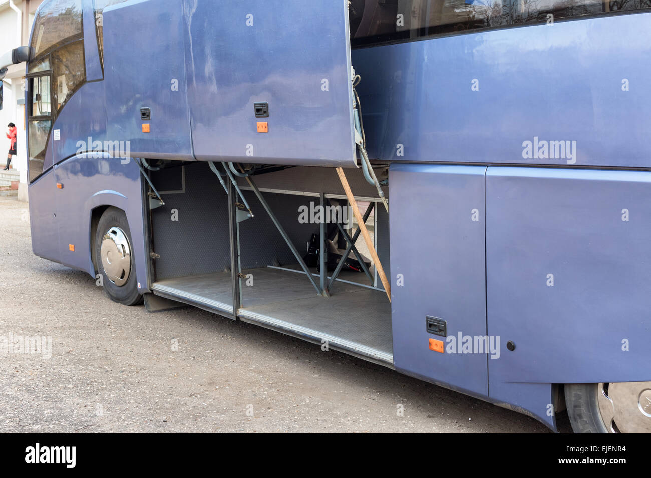 Tour bus before load a cargo. - Stock Image