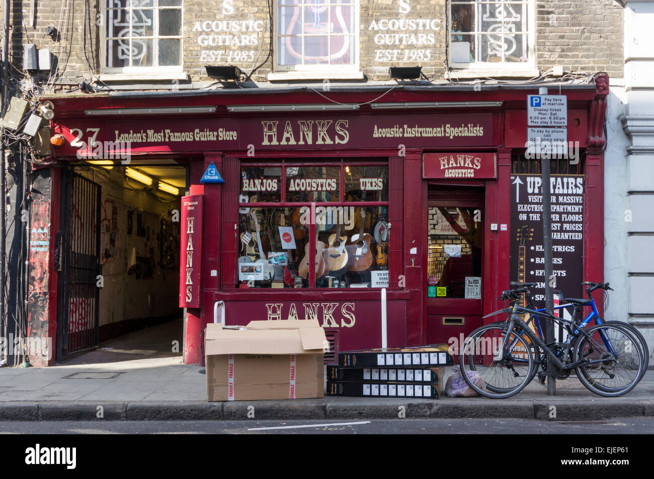 Hanks Guitar Shop in Denmark Street in the West End of Central London. - Stock Image