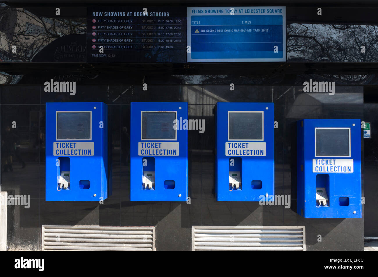 Automatic ticket collection machines at the Odeon Leicester Square cinema. - Stock Image