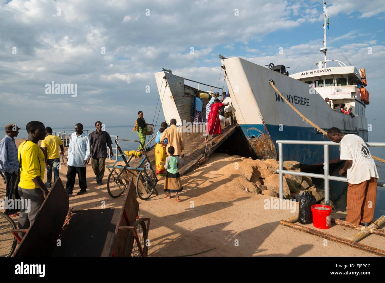 Ferry boat to Ukara Island. Lake Victoria. Tanzania. - Stock Image