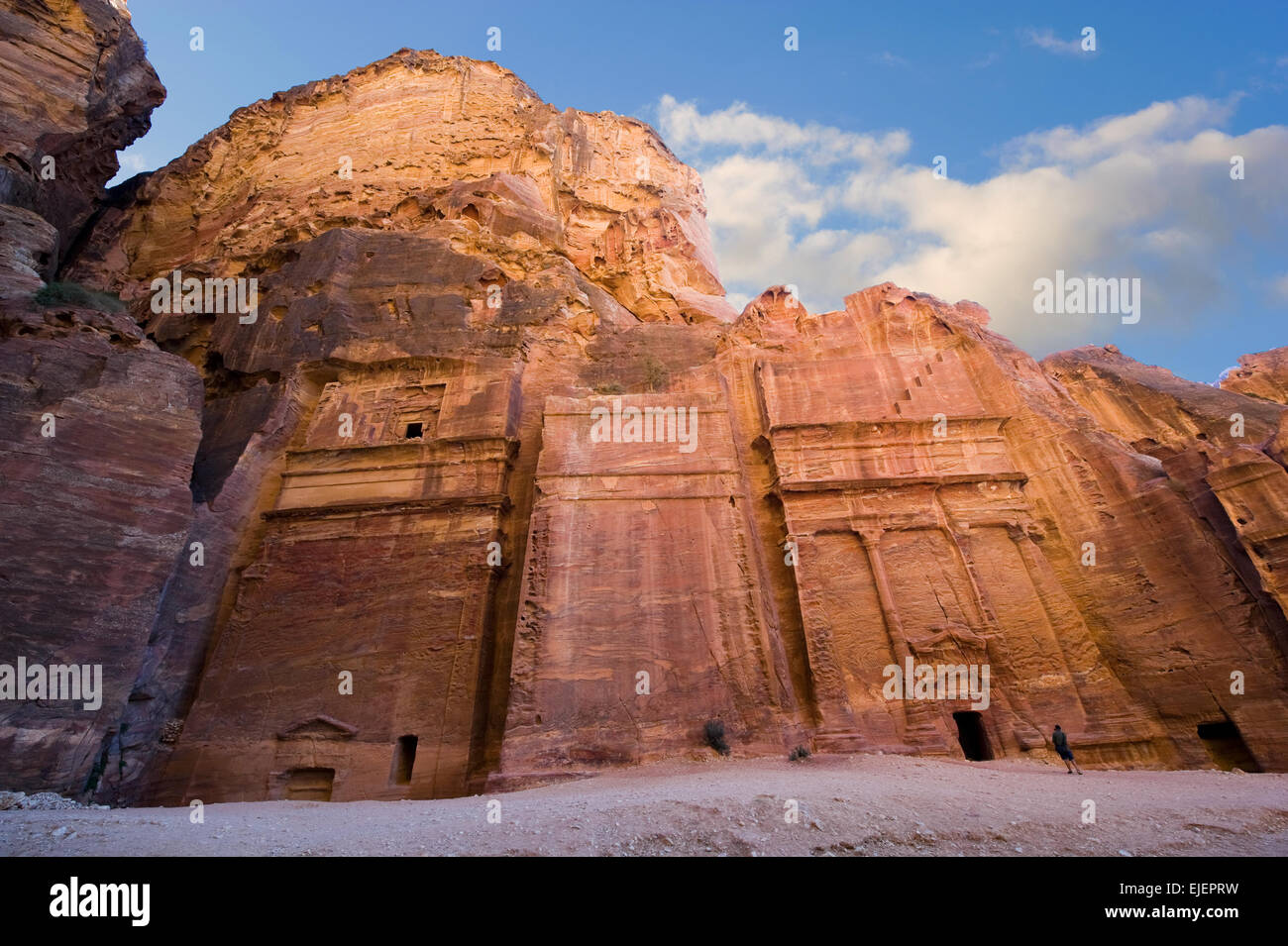 Tombs that are called 'The street of facades' in Petra in Jordan - Stock Image