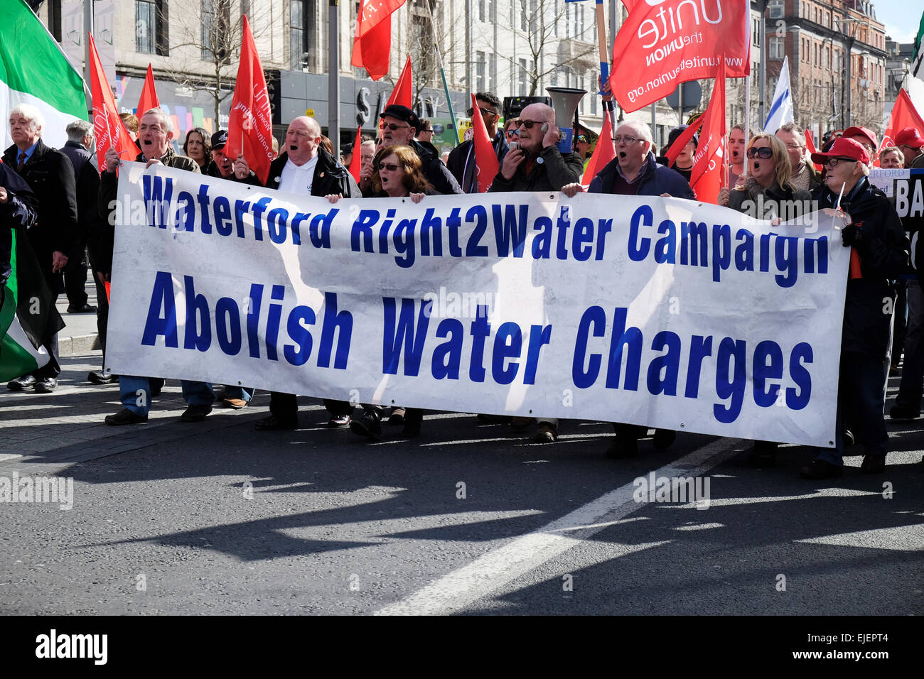 Abolish Water Charges banner at Anti-water charges protests march in O'Connell Street Dublin Ireland in April - Stock Image