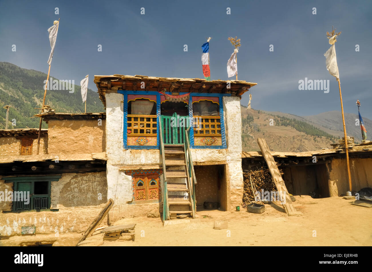 Picturesque view of old traditional Nepalese house - Stock Image