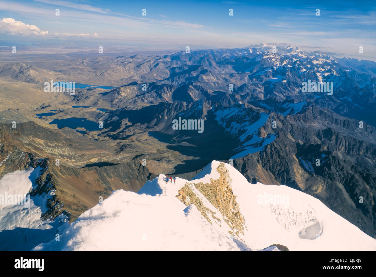 Breathtaking view from the top of Huayna Potosi mountain in Bolivia - Stock Image