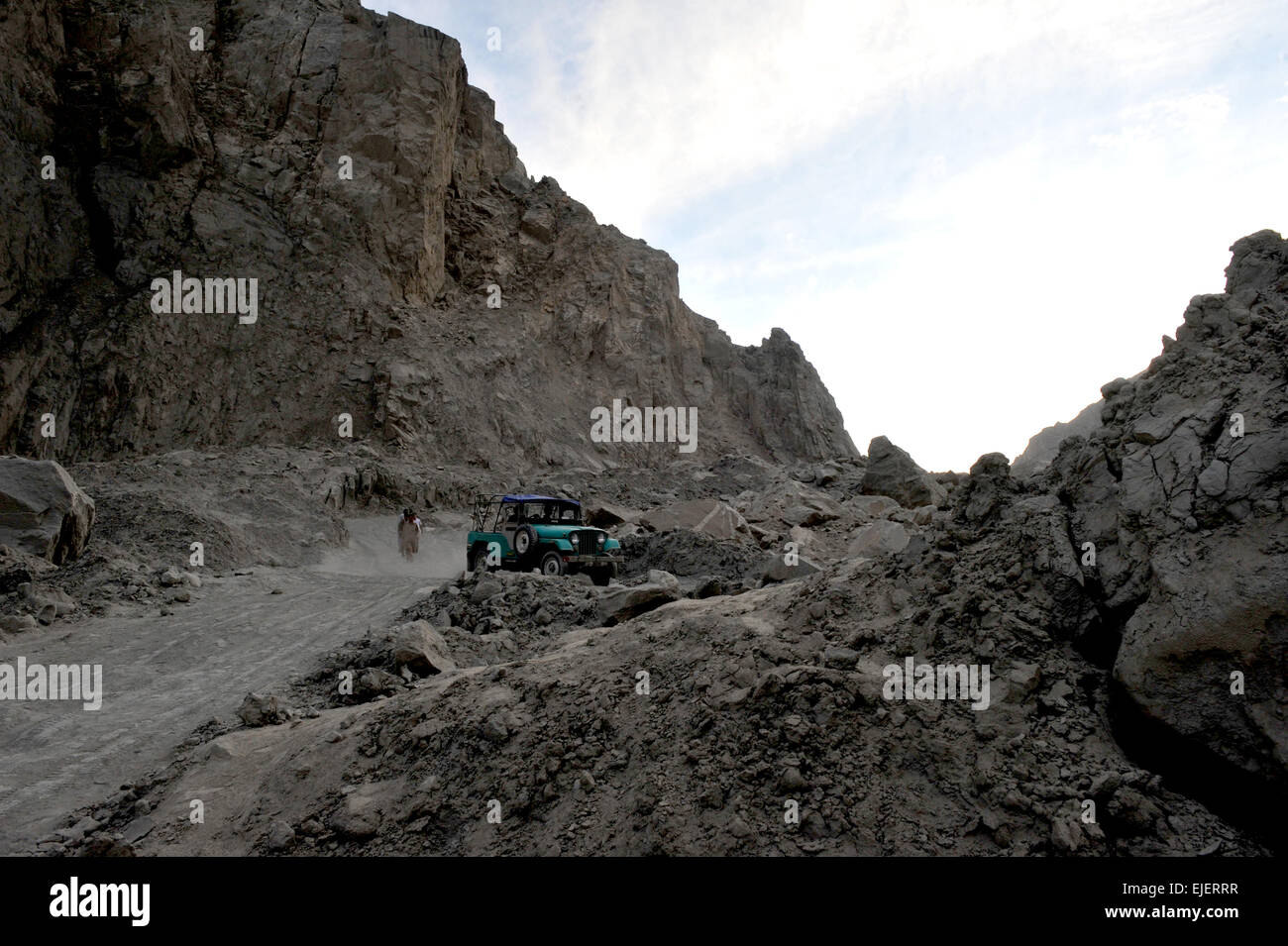 Attabad lake was formed due to a massive landslide at Attabad village in Gilgit-Baltistan, Hunza River, Pakistan, Stock Photo