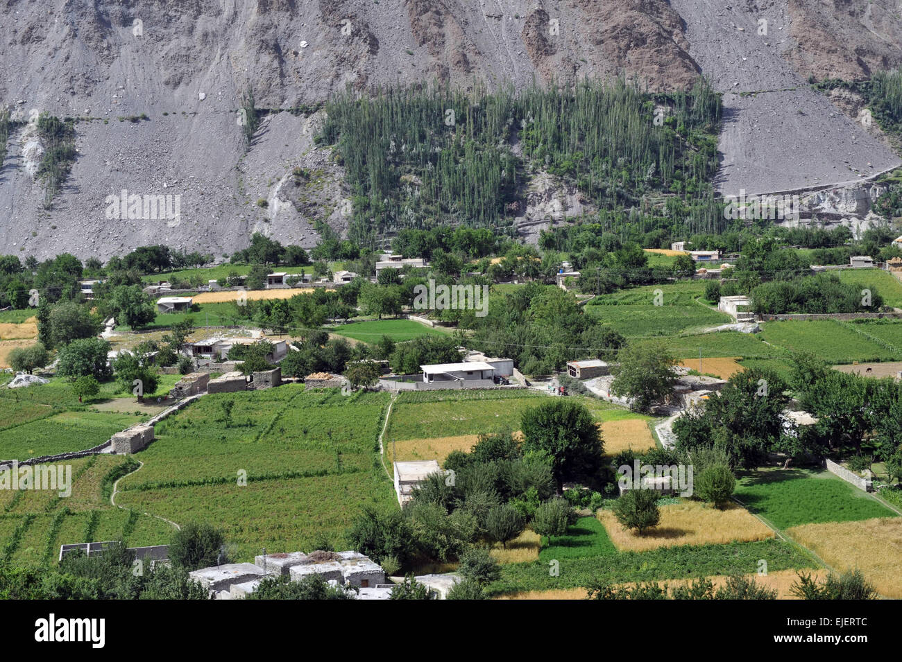 Hunza valley as viewed from Karimabad. Diran is the mountain to the left and Rakaposhi is to the right. - Stock Image