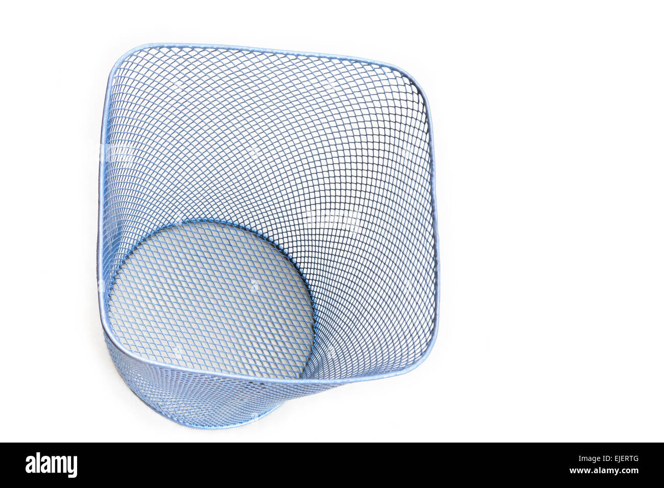 Empty metal mesh wastepaper basket cut-out and isolated on a white from above - Stock Image