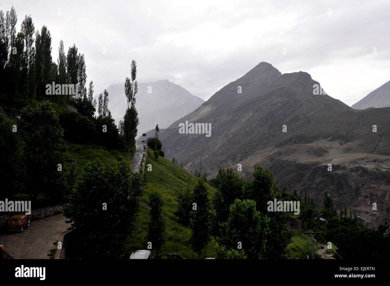 Hunza valley as viewed from Karimabad,  Pakistan, January 2010. - Stock Image