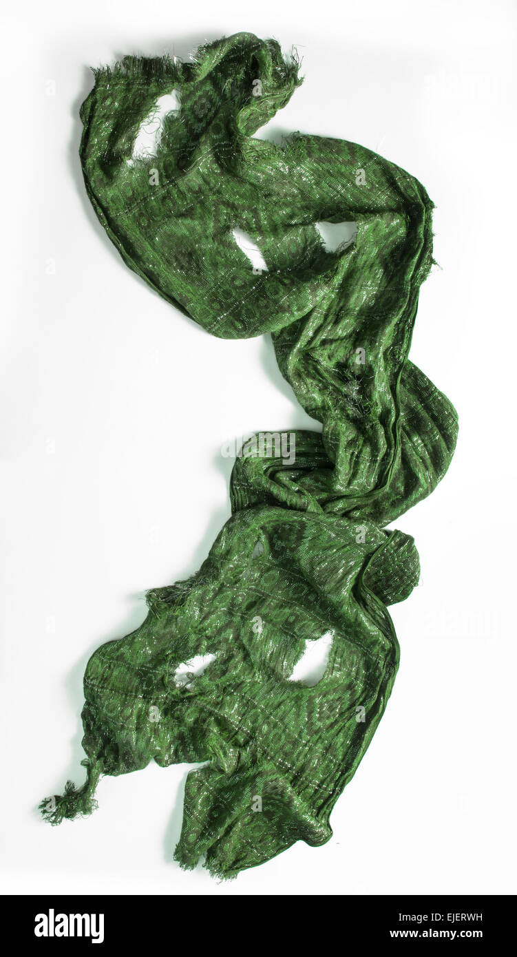 Torn Green Scarf - Stock Image