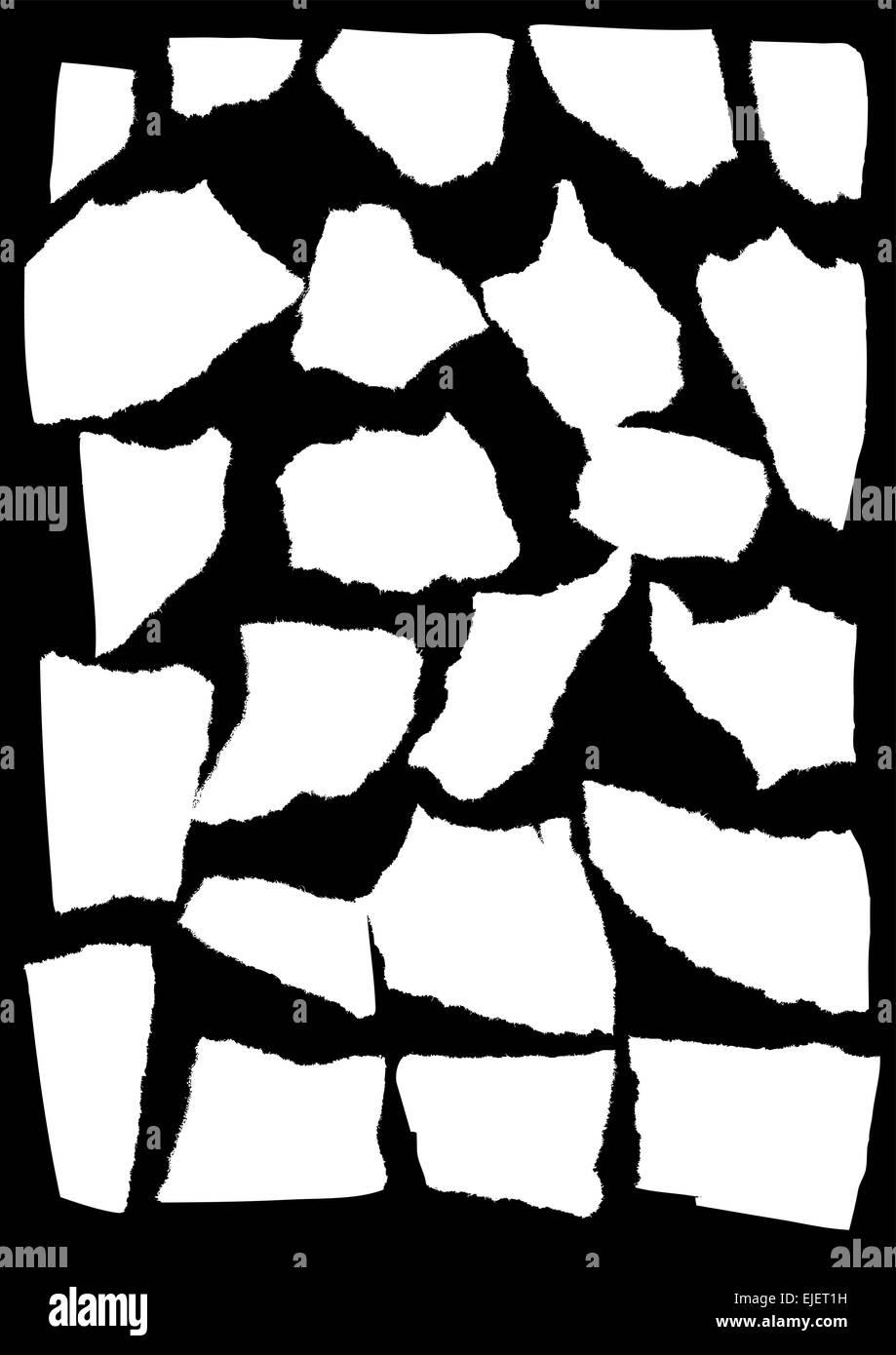 Vector mask looks like tattered paper - scraps of paper - Stock Vector