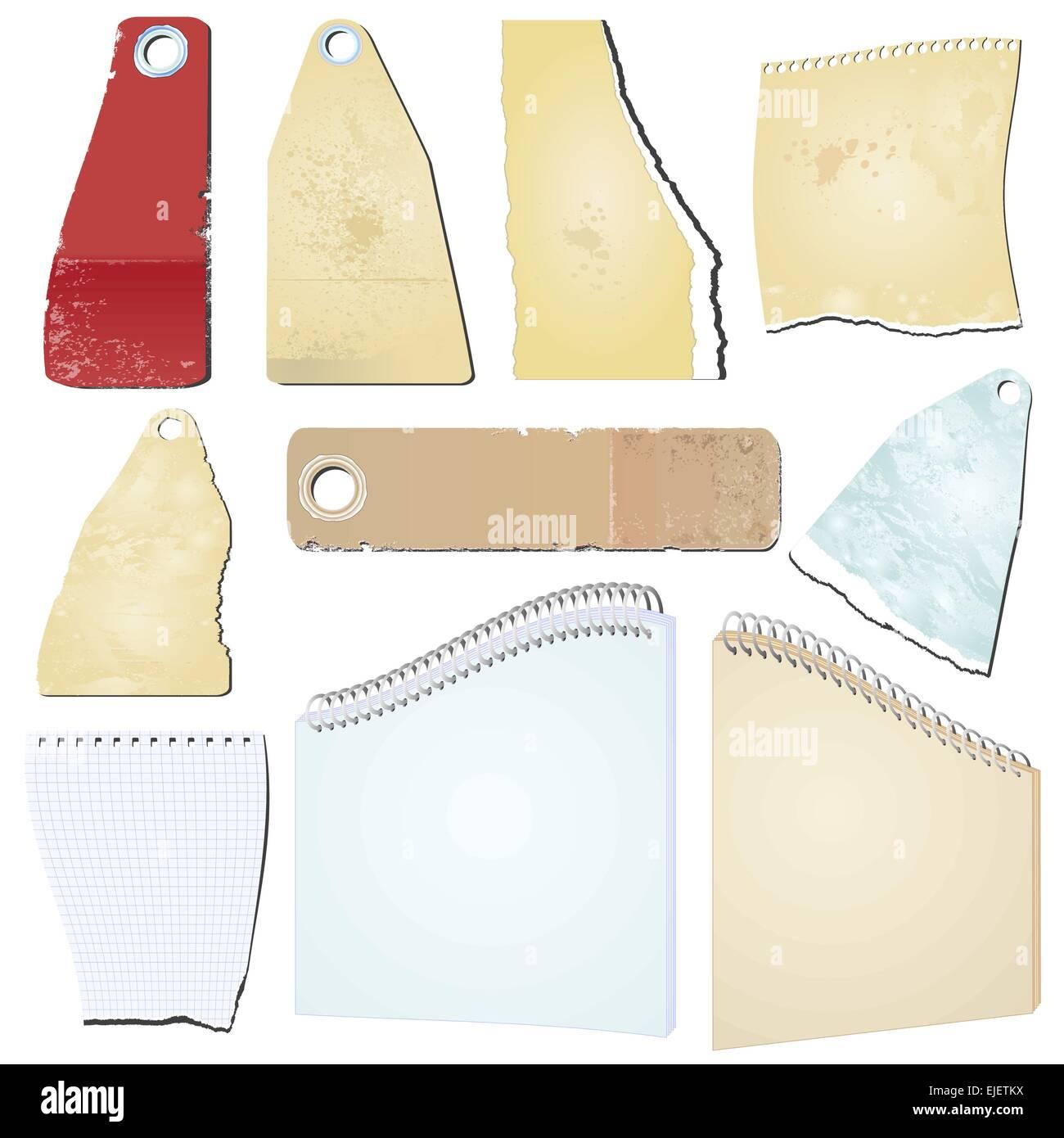 Set of the vector grunge notepad scrap memo paper - vector - Stock Vector